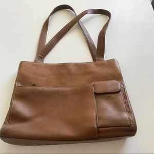 Wilsons Leather Brief Bag Carmel Double Straps